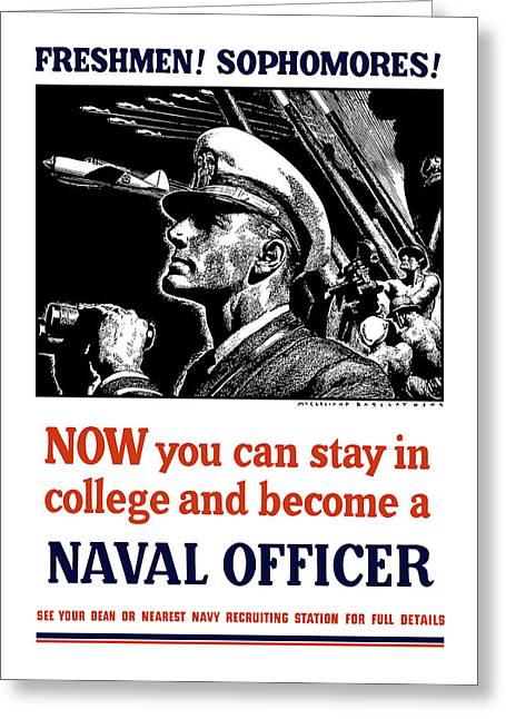 Navy Greeting Cards - Become A Naval Officer Greeting Card by War Is Hell Store