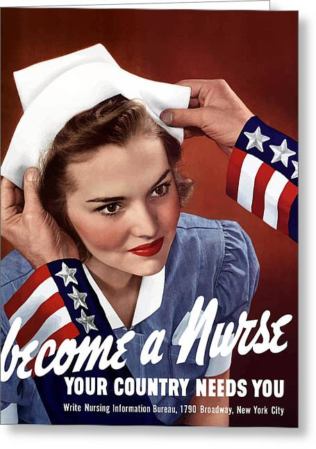 Become A Nurse -- Ww2 Poster Greeting Card