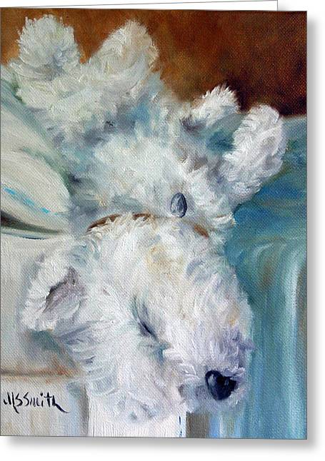 Bed Hog Greeting Card by Mary Sparrow