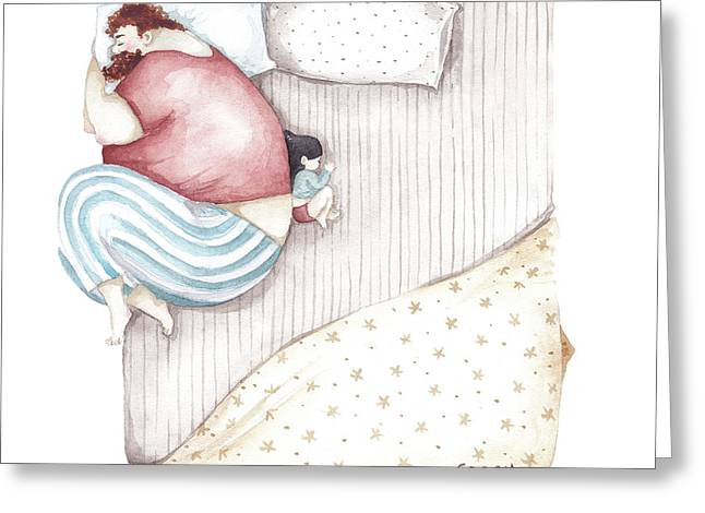 Bed. King Size. Greeting Card