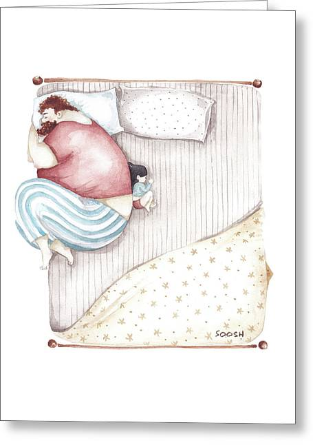 Bed. King Size. Greeting Card by Soosh