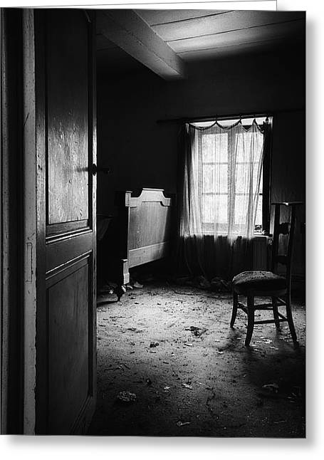 Greeting Card featuring the photograph Bed Room Chair - Abandoned Building by Dirk Ercken