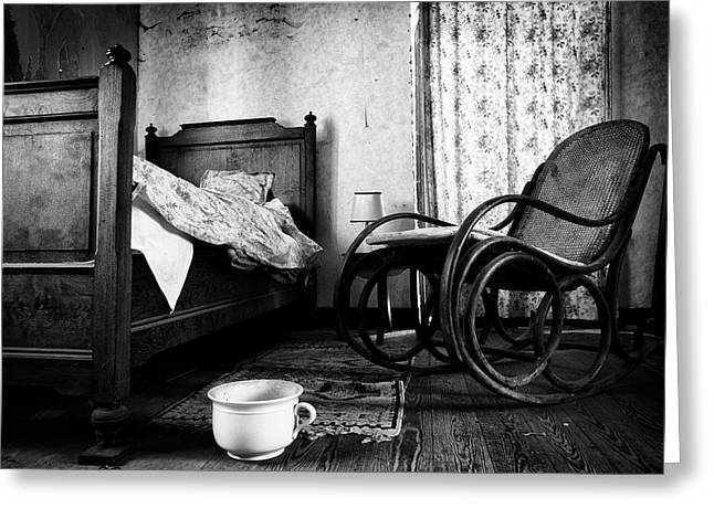 Bed Room Rocking Chair - Abandoned Building Bw Greeting Card by Dirk Ercken