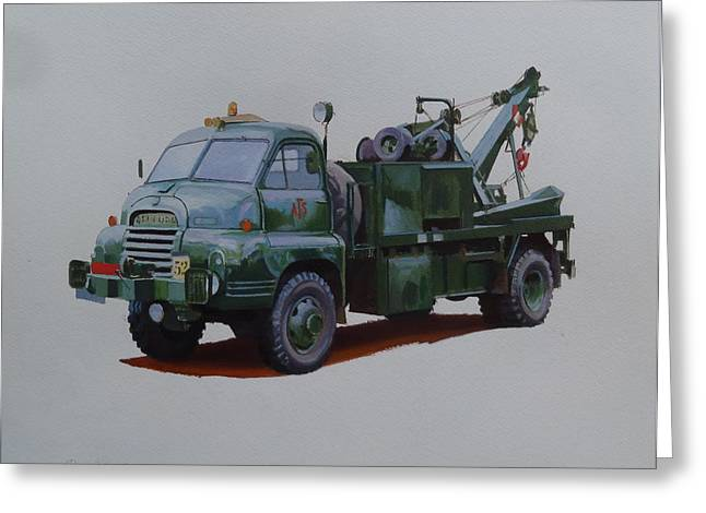 Greeting Card featuring the painting Bedford Wrecker Afs by Mike Jeffries