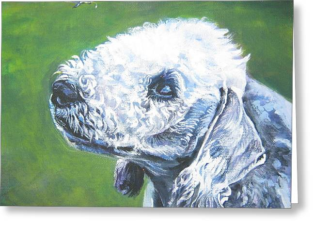 Bedlington Terrier With Butterfly Greeting Card by Lee Ann Shepard