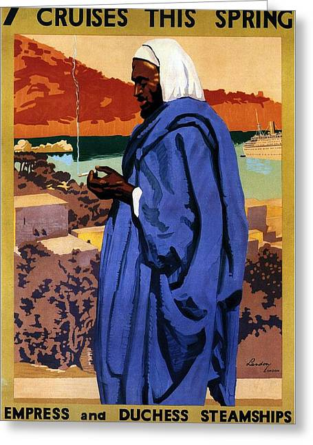 Bedouin In A Blue Robe Smoking Cigarette - Vintage Advertising Poster For Canadian Pacific Steamship Greeting Card