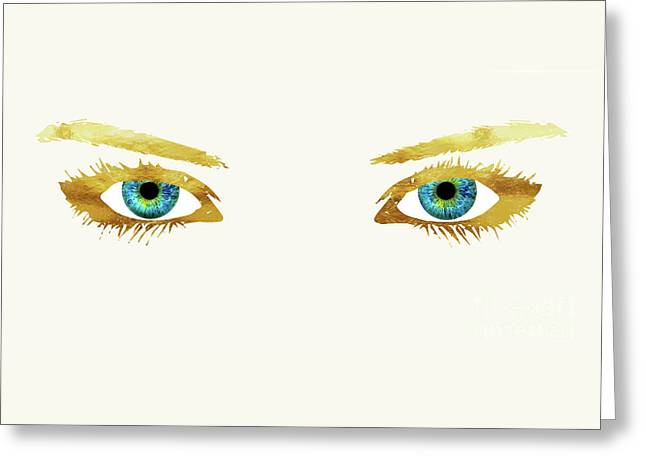 Bedroom Eyes, Blue Eyes, Gold Lashes Greeting Card by Tina Lavoie