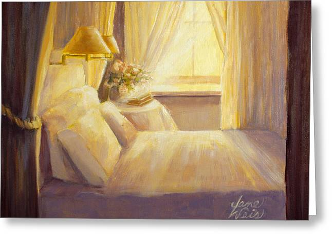 Bedroom Light Greeting Card by Jane Weis