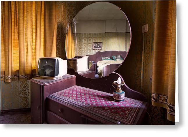 Bedroom Mirror - Abandoned Home Greeting Card by Dirk Ercken