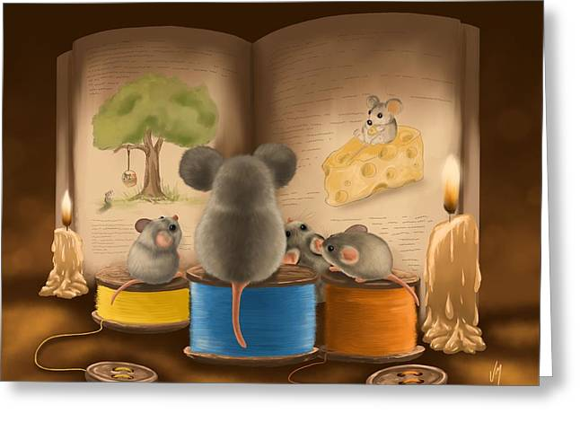 Greeting Card featuring the painting Bedtime Story by Veronica Minozzi