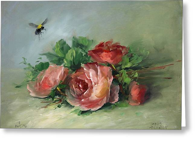 Bee And Roses On A Table Greeting Card by David Jansen