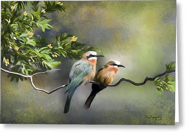 Greeting Card featuring the digital art Bee-eater Birds by Thanh Thuy Nguyen