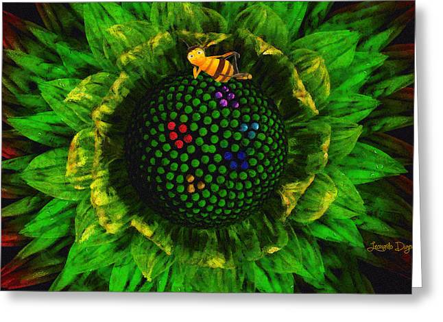 Bee Flower Greeting Card by Leonardo Digenio