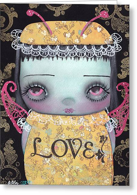 Bee Girl Greeting Card by  Abril Andrade Griffith