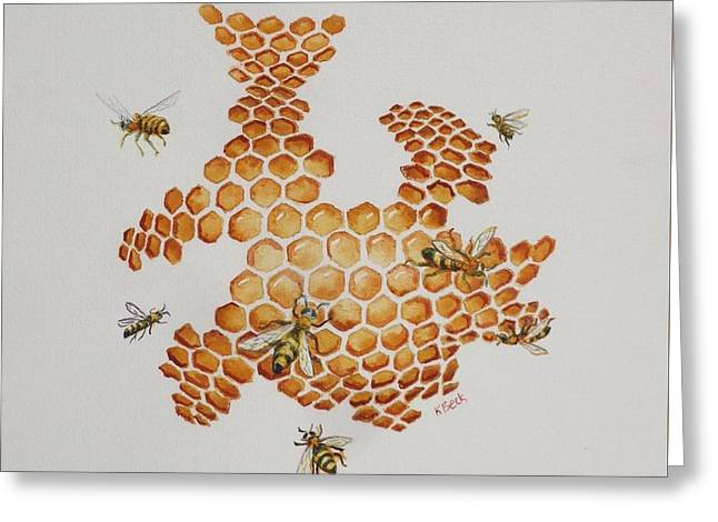 Greeting Card featuring the painting Bee Hive # 1 by Katherine Young-Beck