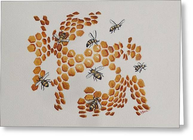 Greeting Card featuring the painting Bee Hive # 2 by Katherine Young-Beck