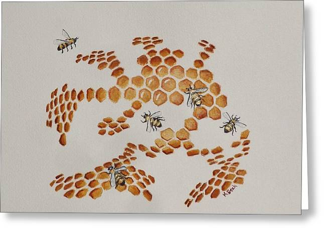 Greeting Card featuring the painting Bee Hive # 4 by Katherine Young-Beck