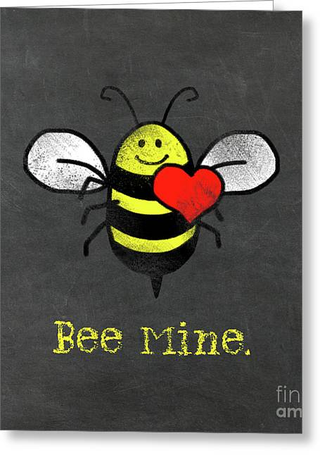 Bee Mine Cute Bee With Heart For Valentines Day Greeting Card by Tina Lavoie
