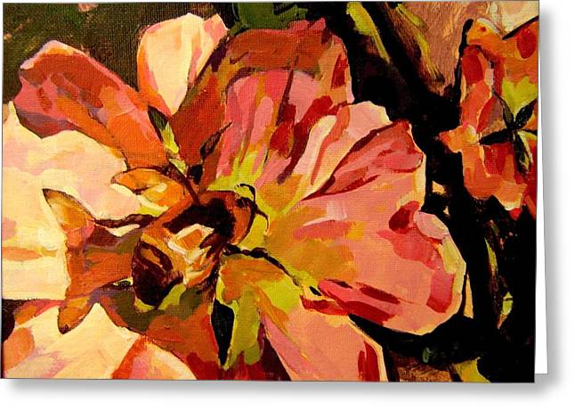 Greeting Card featuring the painting Bee Shadow by Tim  Heimdal