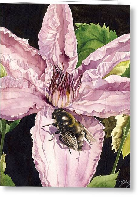 Bee With Pink Clematis Greeting Card