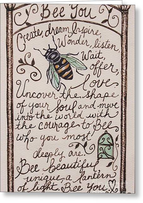Bee You Greeting Card by Elizabeth Robinette Tyndall