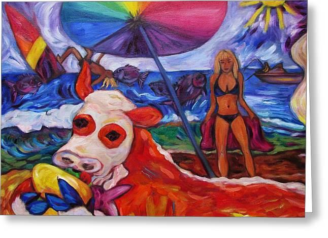 Beefy Eats Burga At The Beach Greeting Card