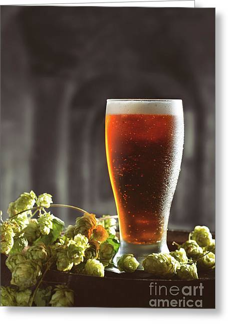 Beer And Hops On Barrel Greeting Card by Amanda Elwell