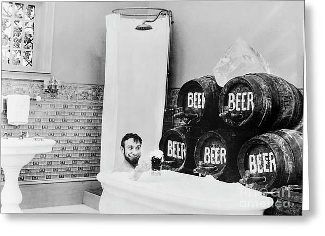 Beer Bath Greeting Card