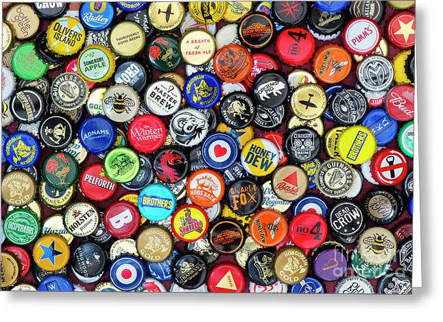 Beer Bottle Caps Greeting Card by Tim Gainey