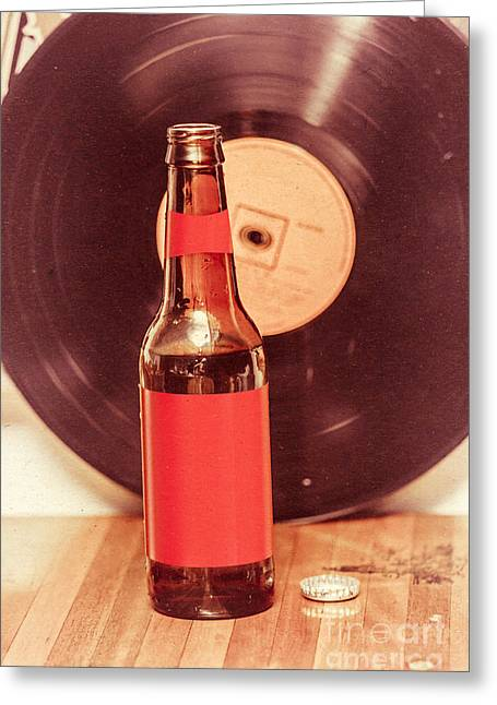Beer Bottle On Bar Counter Top With Vinyl Record Greeting Card by Jorgo Photography - Wall Art Gallery