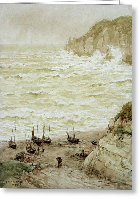 Beer Cove In A Storm Greeting Card by Frank Dadd
