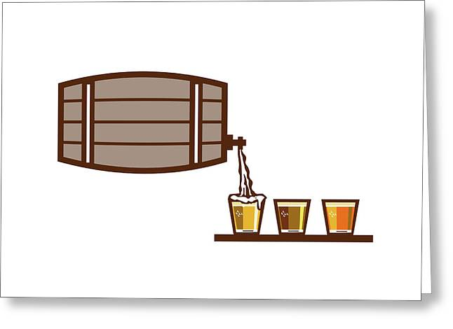 Beer Flight Keg Pouring On Glass Retro Greeting Card