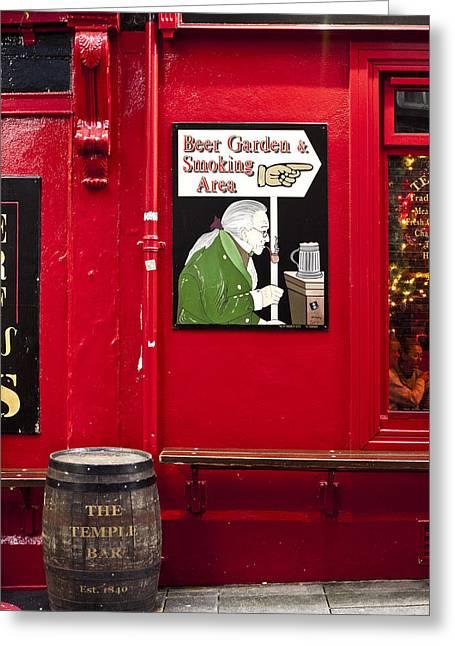 Beer Garden Smoking Area Greeting Card by Rae Tucker