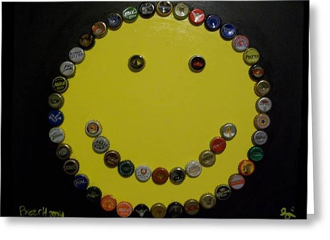 Beer Happy Greeting Card by Laurette Escobar