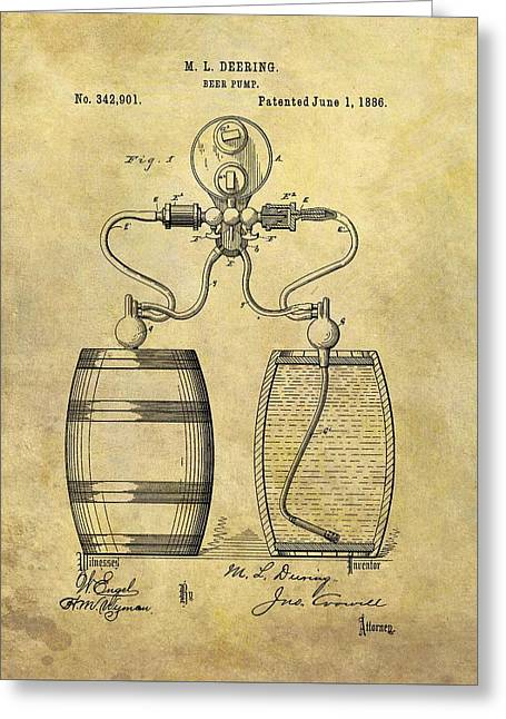 Beer Pump Patent Greeting Card by Dan Sproul