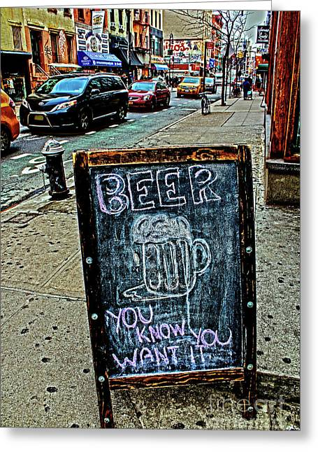 Greeting Card featuring the photograph Beer Sign by Sandy Moulder