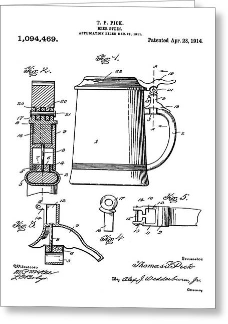Beer Stein Patent 1914 Greeting Card by Bill Cannon