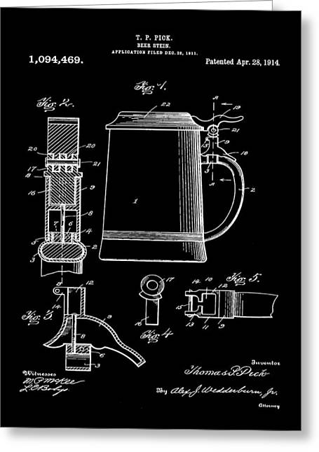 Beer Stein Patent 1914 In Black Greeting Card by Bill Cannon