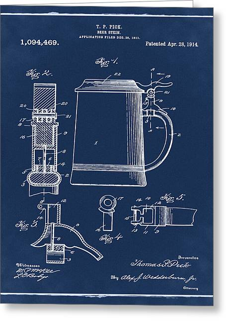 Beer Stein Patent 1914 In Blue Greeting Card by Bill Cannon