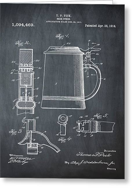 Beer Stein Patent 1914 In Blue Chalk Greeting Card by Bill Cannon