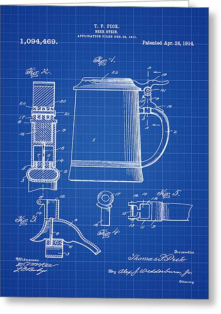 Beer Stein Patent 1914 In Blue Print Greeting Card by Bill Cannon