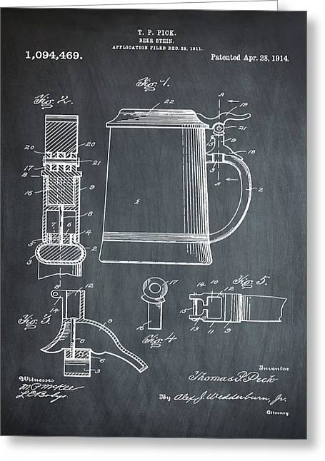 Beer Stein Patent 1914 In Chalk Greeting Card by Bill Cannon