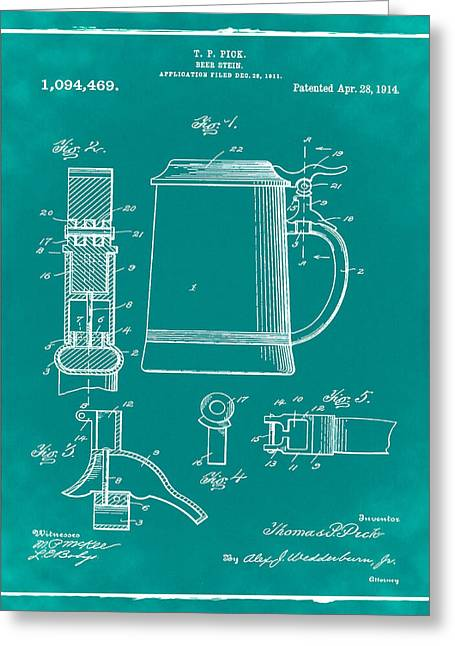 Beer Stein Patent 1914 In Green Greeting Card by Bill Cannon