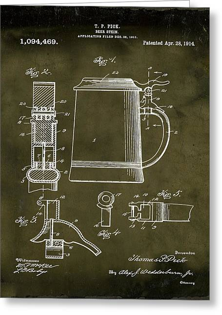 Beer Stein Patent 1914 In Grunge Greeting Card by Bill Cannon