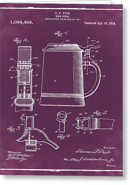 Beer Stein Patent 1914 In Red Greeting Card by Bill Cannon