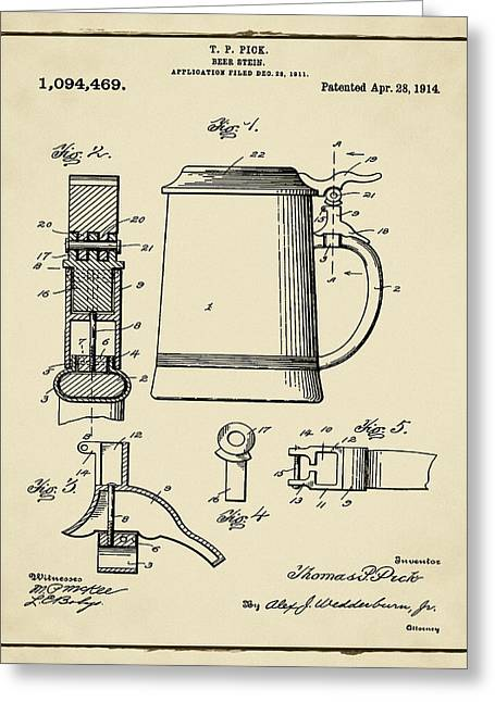 Beer Stein Patent 1914 In Sepia Greeting Card by Bill Cannon
