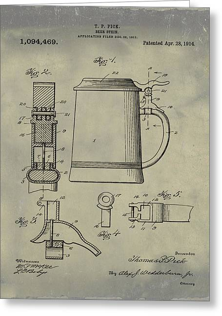 Beer Stein Patent 1914 In Weathered Greeting Card by Bill Cannon