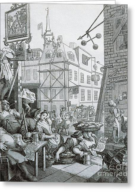 Beer Street In London Greeting Card by William Hogarth