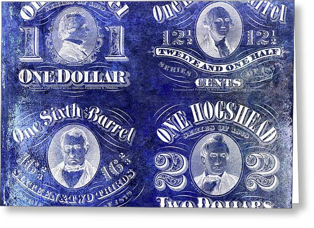 Beer Tax Stamps Circa 1878 Blue Greeting Card by Jon Neidert
