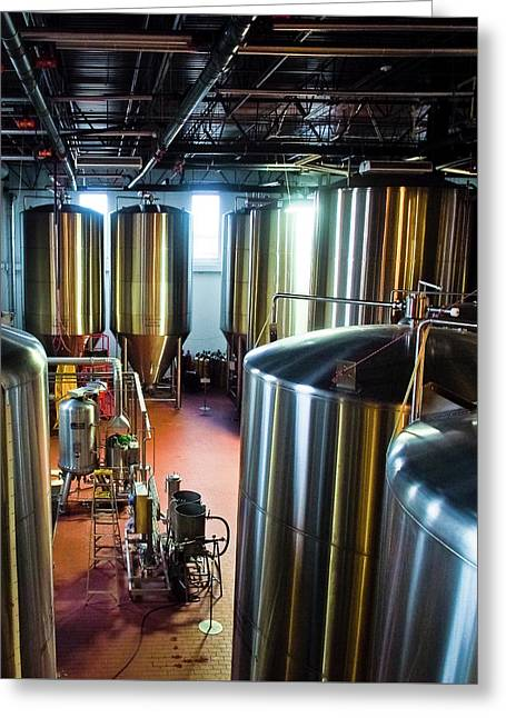 Greeting Card featuring the photograph Beer Vats by Linda Unger